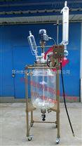 特氟龙变频双显双层玻璃反应釜50L-100L